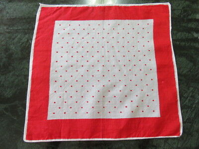 """Vintage Hankie/handkerchief - Off White - Red Polka Dots - 10"""" By 10"""""""