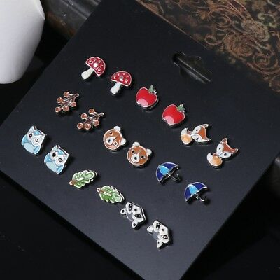 759241a87 9 Pairs Cute Small Animal Fruit Fox Butterfly Stud Earrings Set For Girls  Kids