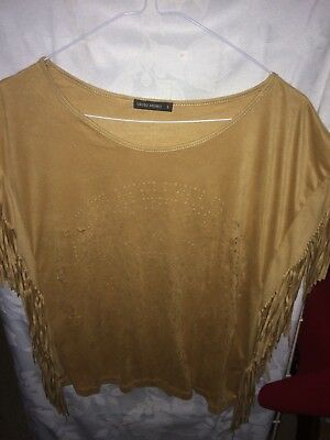 FAUX SUEDE TOP size S by ORFIO NEGRO fringed and pattern good condition