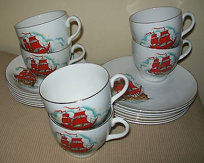 "VINTAGE 18pc BARRATTS ""DELPHATIC CHINA"" SAILING SHIP DESIGN TRIO SETS - England"