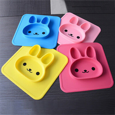 Lovely Kids Silicone Bunny Service Plate Child Feeding Suction Bowl Tableware