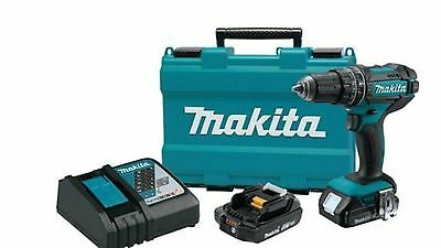 18-Volt Lithium-Ion 1/2 in. Compact Cordless Hammer Driver Drill Kit Power Tool