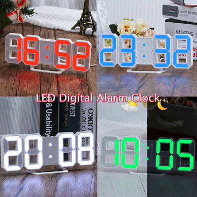 3D Display LED Digital Numbers Table Wall Clock Alarm Snooze Timer Clock 5-Color