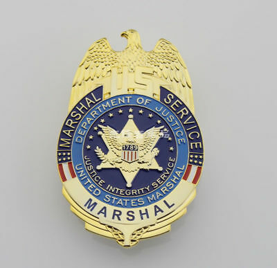 United States Metal Badge Marshal Service US Department of Justice Badge Pin Cos
