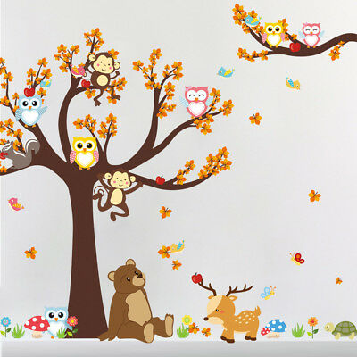KE_Owl Bird Tree Squirrel Wall Art Sticker Decal Nursery Baby Kid Room Decor HOT
