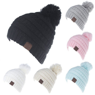 Baby Infant Boy Girl Winter Warm Knitted Cap Toddler Beanie Pom Pom Ski Hat BG