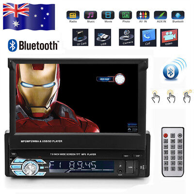 """7"""" Single 1 Din Car Stereo In Dash GPS Navigation Touch DVD MP3 Player Free Map"""