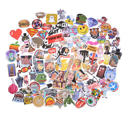 100X Mixed Funny Cartoon Doodle Decals Luggage Laptop Skateboard DIY Sticker JO