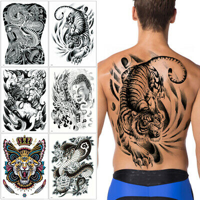 fe915776be990 Big Large Full Back Temporary Body Art Tattoo Sticker TB Chest Classic Totem  Hot