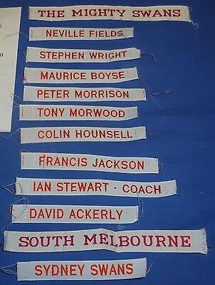 1980s South Melbournen sydney Swans AFL VFL Football Footy 12 x Player Name Tags