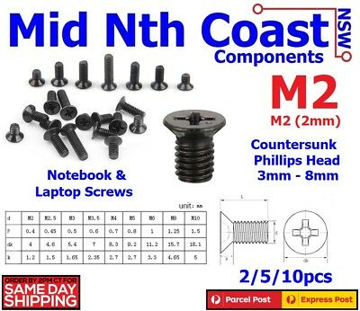 M2 x 3-8mm Laptop Notebook Machine Screws Phillips Cross Head Countersunk Black