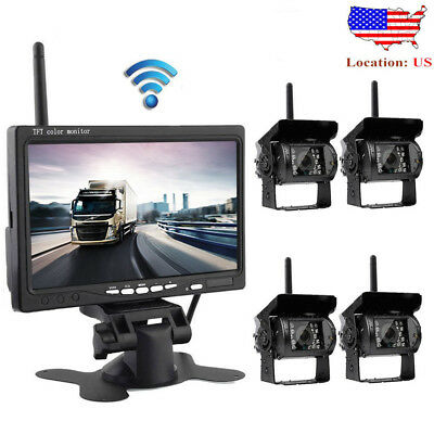 "4 X Wireless Rear View Backup Camera Night Vision + 7"" Monitor For RV Truck Bus"