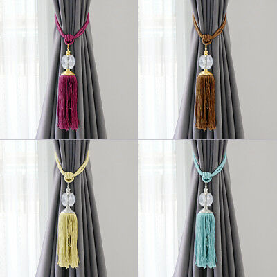 2pcs Curtain Rope Tie Backs Decorative Prism Ball Holdback with Hanging Tassel