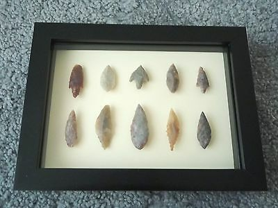 Neolithic Arrowheads in 3D Picture Frame, Authentic Artifacts 4000BC (0455)