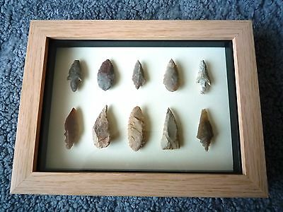 Neolithic Arrowheads in 3D Picture Frame, Authentic Artifacts 4000BC (0868)