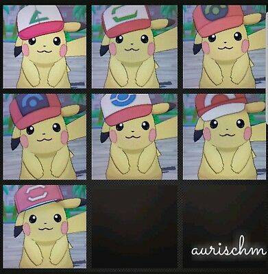 Pokemon 7 pack hat Pikachu non shiny level 100 Sun/Moon & Ultra DS game trade