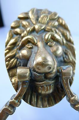 VINTAGE 1950s ISRAEL MADE SOLID BRASS LIONS HEAD DOOR KNOCKER