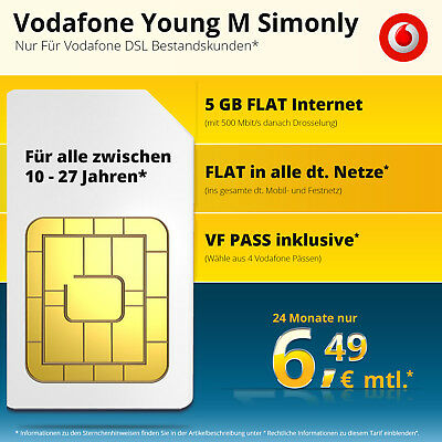 Original Vodafone Young M Simonly Gigakombi Nur 6.49€ Mtl. [5Gb Lte]*