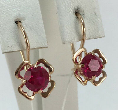Rare Vintage USSR Soviet Russian Solid Gold Earrings with Ruby Stone 583 14k
