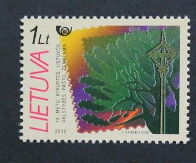 10th anniversary of Lithuanian postal service stamp, 2000, SG ref: 741, MNH