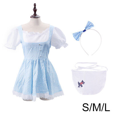 Dorothy Costume Wizard of OZ Halloween Dress S/M/L Outfit With Apron Hairband