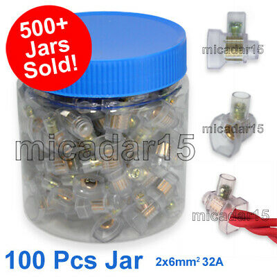100 SINGLE Screw Connectors in Jar 2x6mm² 32A - Cable Wire Joiner BP Terminals
