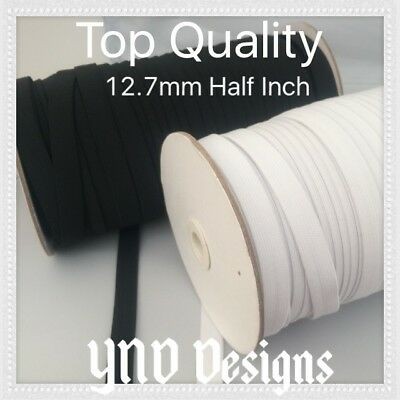 12.7mm Half Inch TOP  QUALITY FLAT BLACK or WHITE elastic STRETCH  Woven BAND