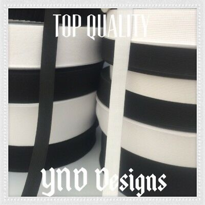 TOP QUALITY FLAT BLACK or WHITE elastic STRETCH  Woven band DRESSMAKING CRAFT