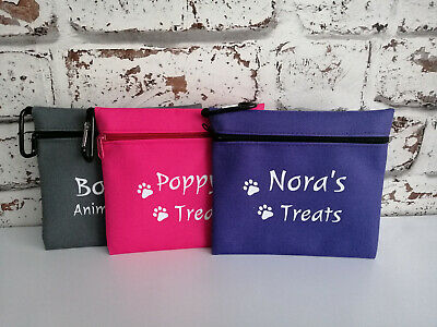 dog treat bag personalised with any name or text and paw print logo