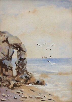 A Beautiful Antique Miniature Seascape Painting, Poldark, Cornwall, E Whitman