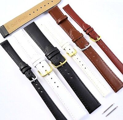 Black, Tan, White Genuine Leather Watch Strap Band Sizes 12,14,16,18,20,22mm