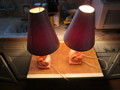 Vintage Pair Of Art Deco Bedside Lamps Ceramic Sculptural Table Lamps Retro