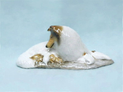 Ron Hevener Small Collie and Pups Figurine