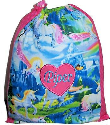 Personalised drawstring library bag - Unicorns and butterflies two tone - SMALL