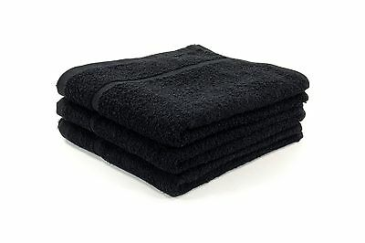 12 X Black Gym Towels / Barber / Salon / Hairdressing Towels 400Gsm 50 X 85Cm