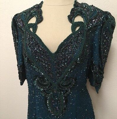Vtg Alyce Designs 14/XL Peacock Blue EVENING DRESS Gown Beads Sequins Pearls