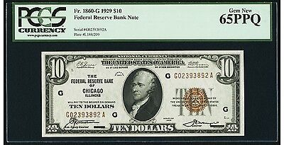 $10 1929 Federal Reserve Bank Note Chicago PCGS Gem New 65 PPQ