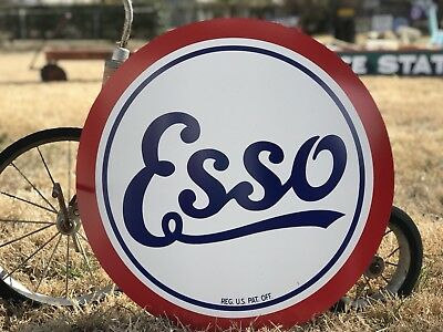 Antique Vintage Old Style Esso Gas Oil Sign