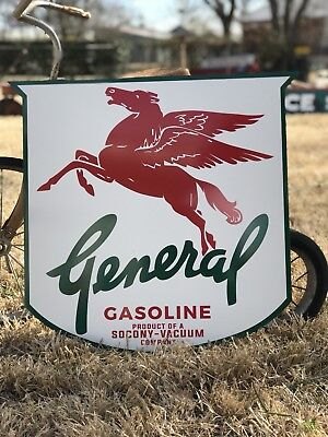 Antique Vintage Old Style General Socony Mobil Oil Transition Sign!