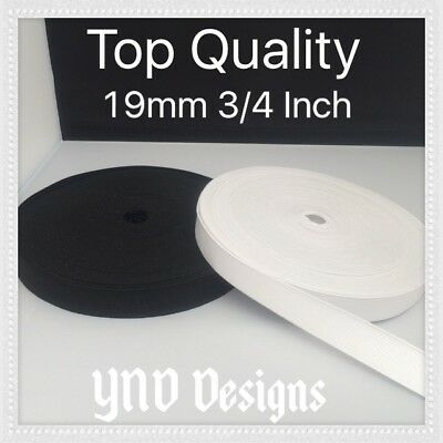 19mm 3/4 Inch TOP QUALITY FLAT BLACK or WHITE elastic STRETCH  Woven BAND