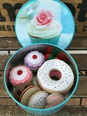 Pretend Toy Play Food - Tin of Felt Cookies / Biscuits Cupcakes Donuts Tea Party