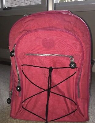 Kipling Sausalito Rolling Backpack Carry-On Wheeled Luggage w/ laptop case Pink