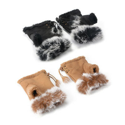 1 Pair Winter Fingerless Gloves Texting Lace Up Faux Suede Rabbit Fur Gloves