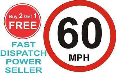 80mm Limited to 60 MPH Vehicle Speed Restriction Bumper Printed Sticker Car Van