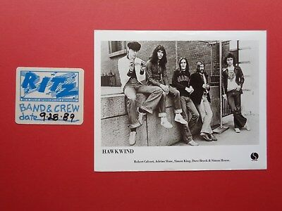 "HAWKWIND,1 B/W 8x10"" promo photo,1 RARE Original OTTO Backstage pass"