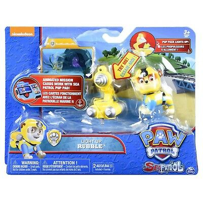 Paw Patrol Sea Patrol Light Up Rubble with Pup Pack & Mission Card - New Release