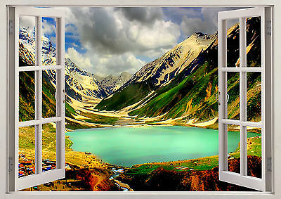 Nature Boat Lake Mountains Blue Water 3d Effect Smashed Wall Sticker Poster Z443