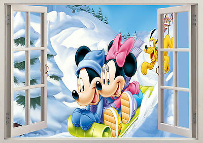 Disney Mickey Minnie Goofy Snow 3D Effect Window Wall View Sticker Poster Viny
