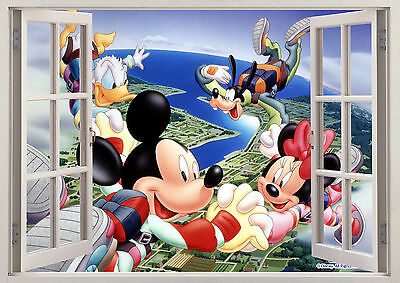 Disney Mickey Minnie Donald Goofy 3D Vinyl Window Wall View Sticker Poster 239