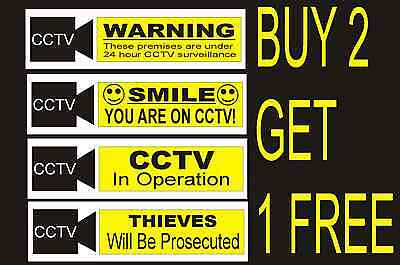 CCTV Warning Security Camera Adhesive Sign Sticker Choose Your Design